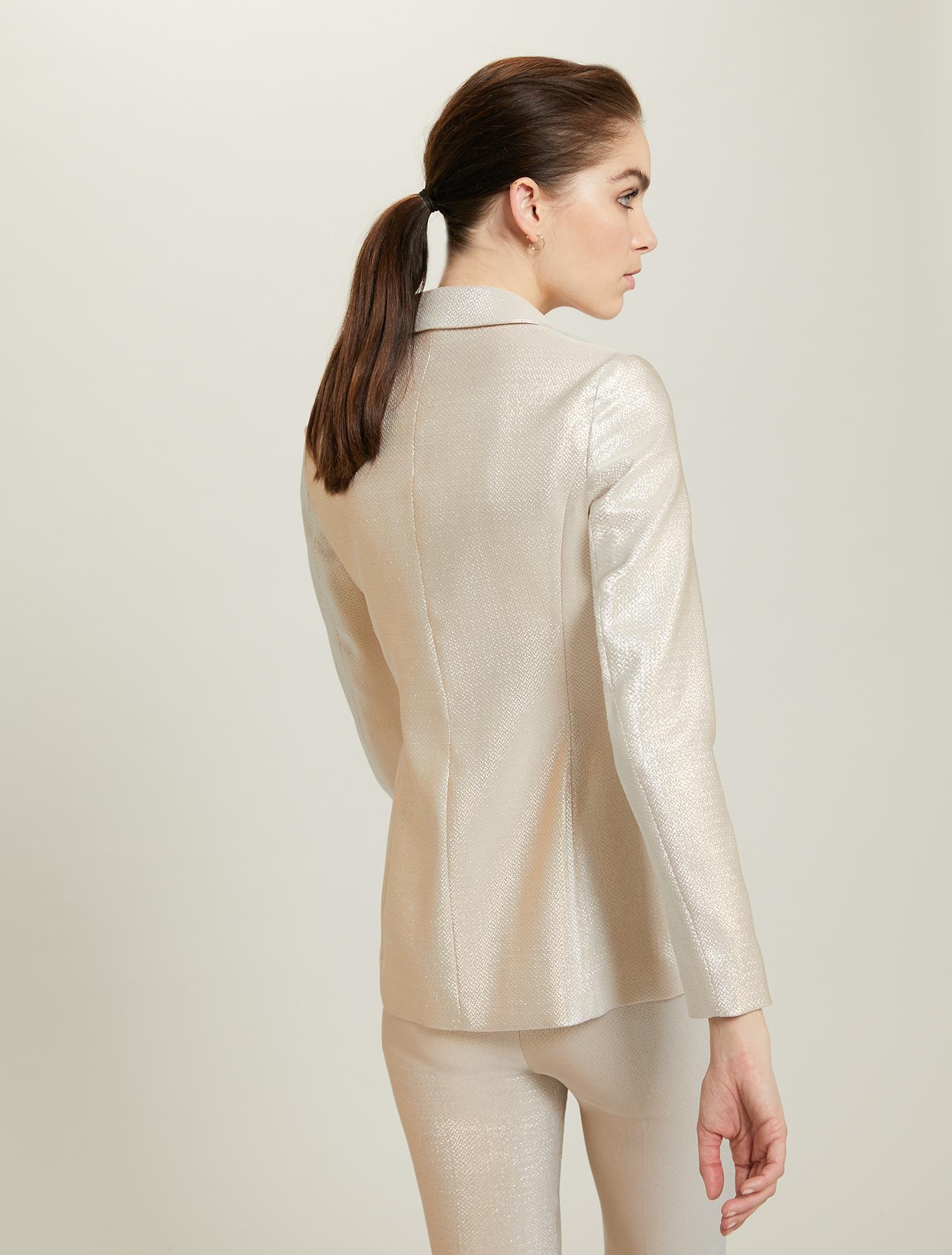 Slim lamé blazer - gold pattern - pennyblack