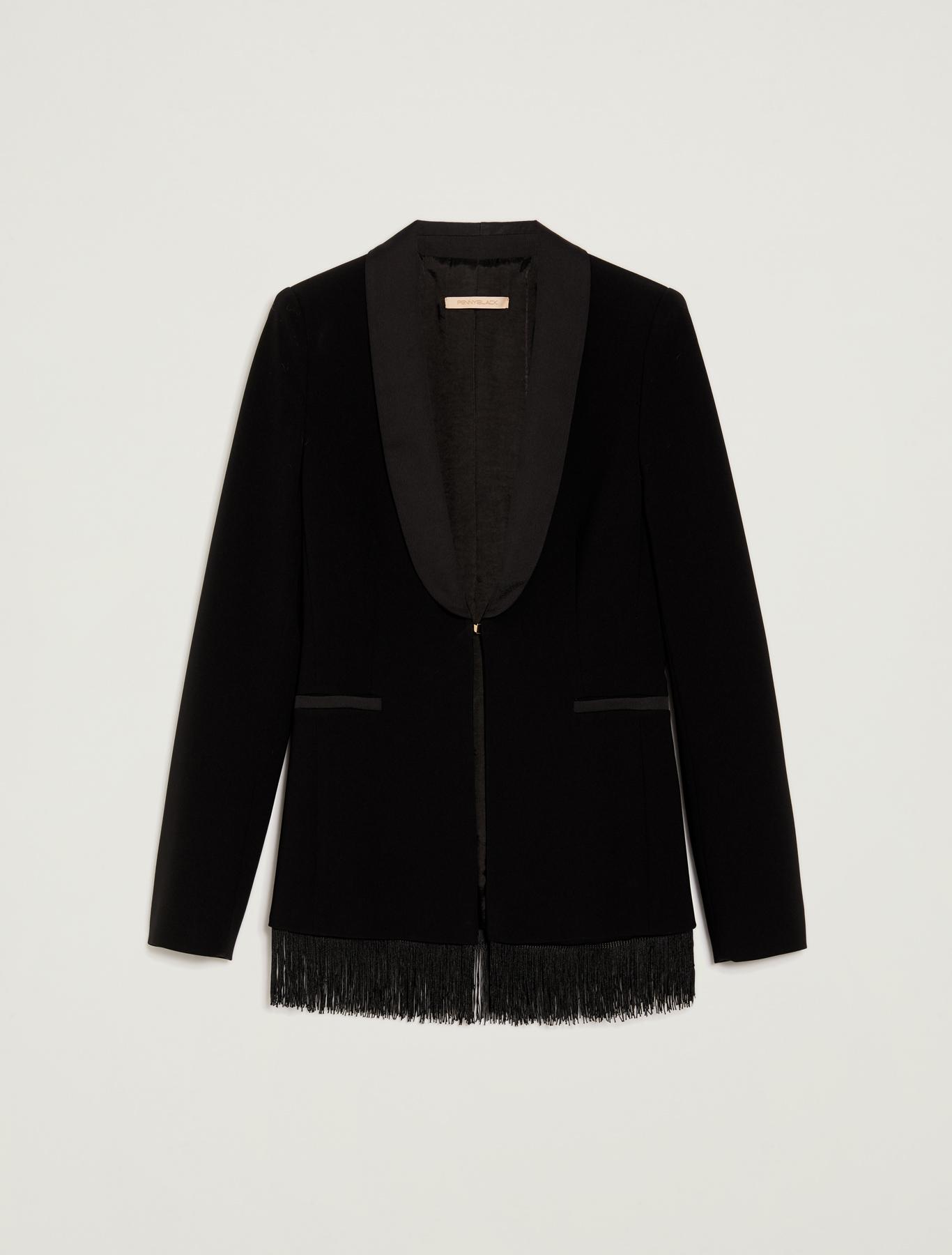 Tuxedo blazer with fringes - black - pennyblack
