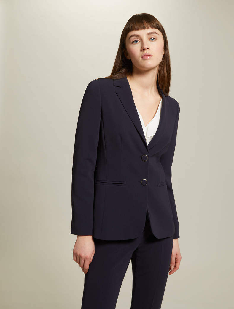 Slim, two-button blazer - navy blue - pennyblack