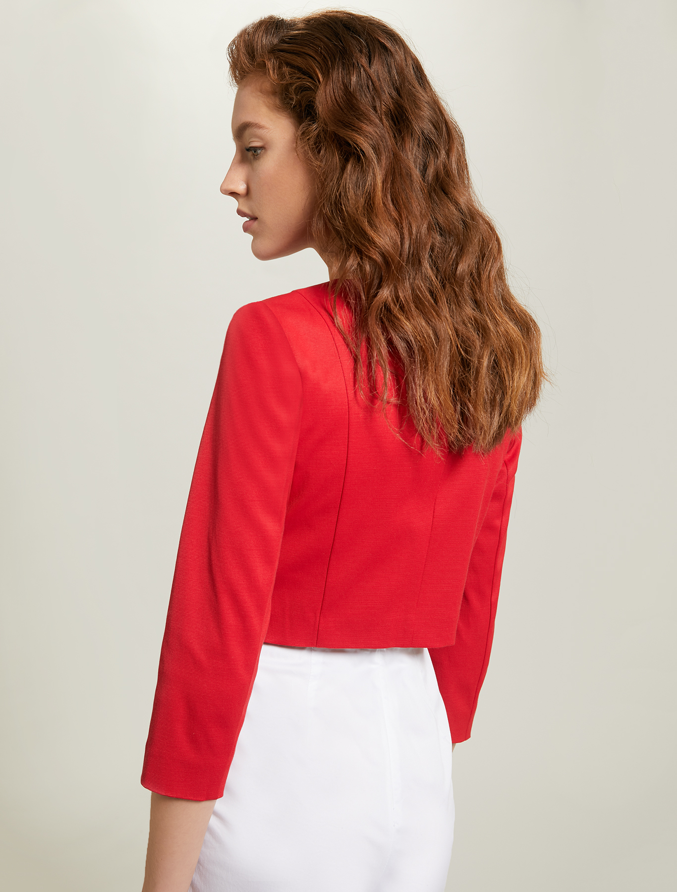 Faille round-neck jacket - red - pennyblack