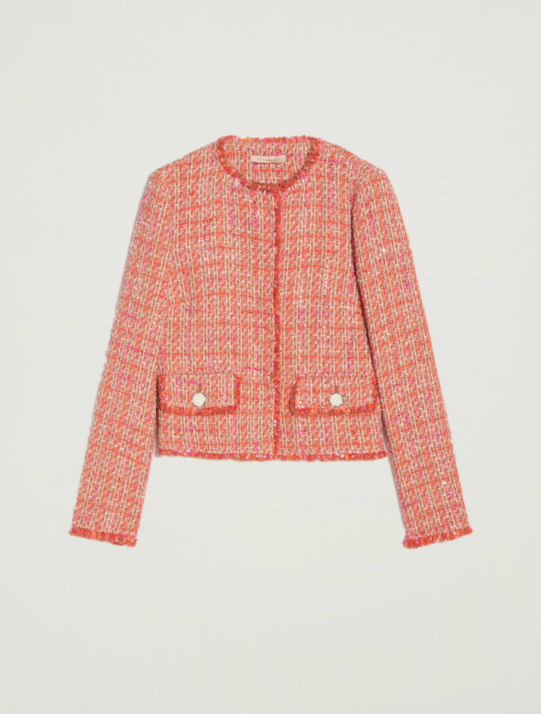 Round-neck basketweave jacket - orange pattern - pennyblack