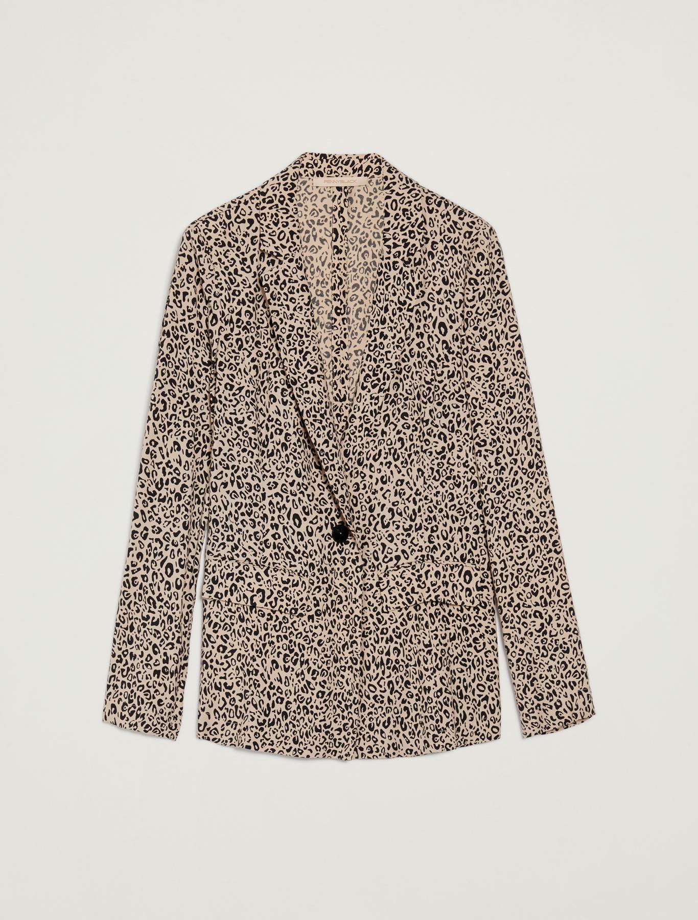 Leopard-print sablé blazer - sand pattern - pennyblack