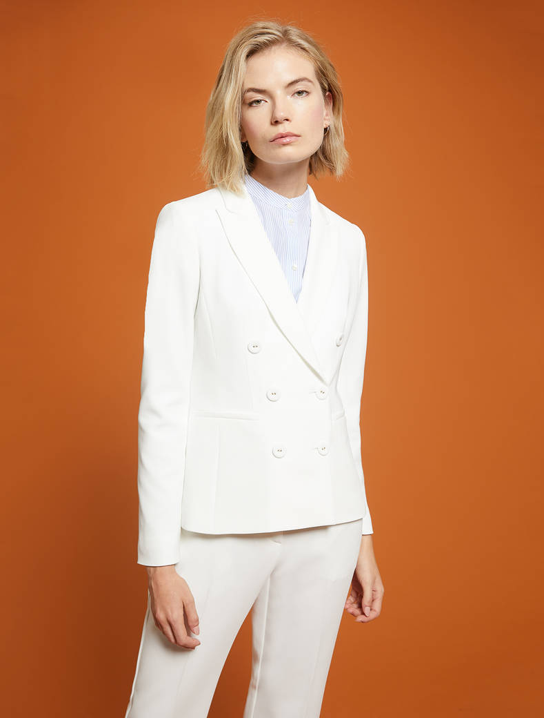 Slim-fit, double-breasted blazer - ivory - pennyblack