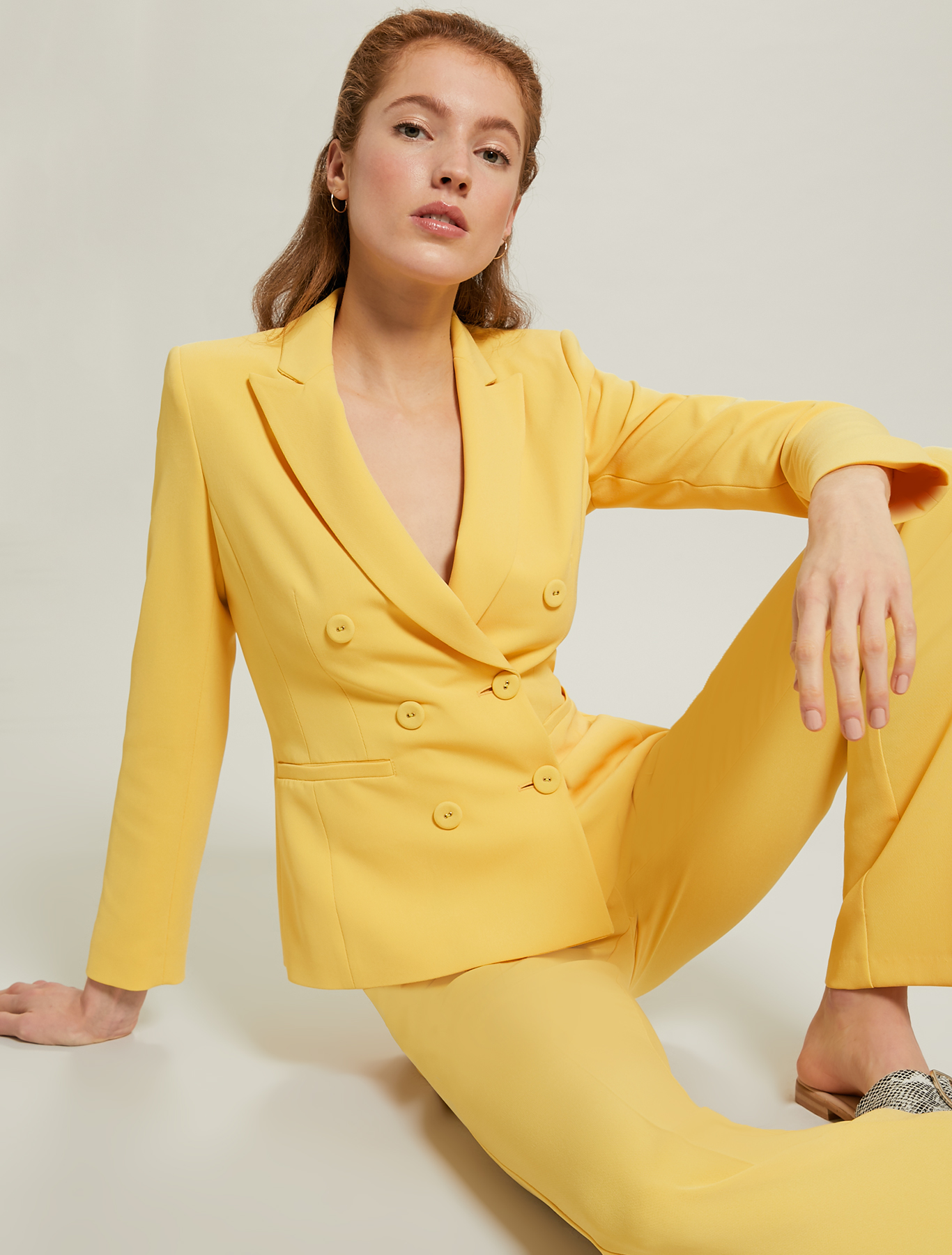 Slim-fit, double-breasted blazer - sunshine yellow - pennyblack