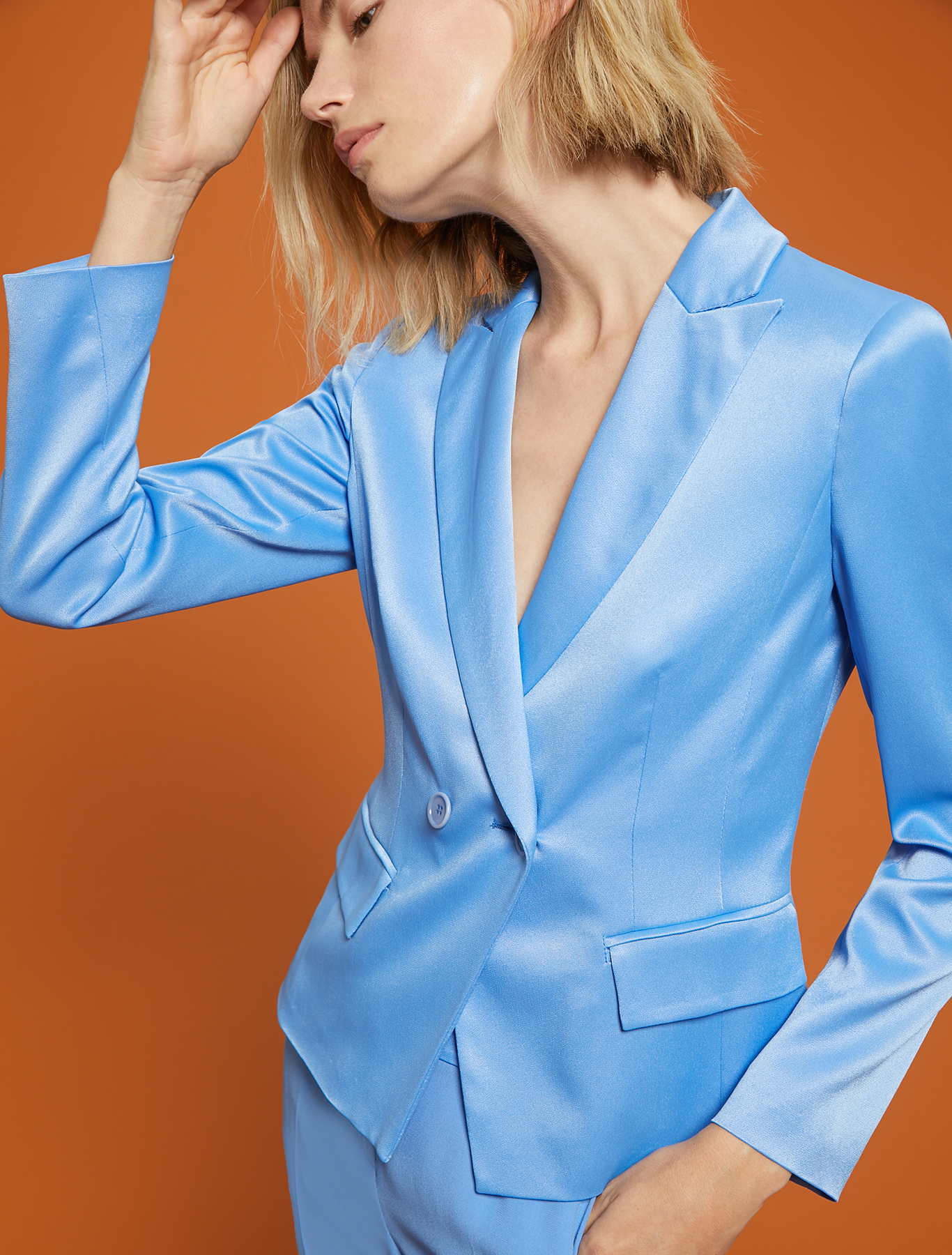 Envers satin blazer - light blue - pennyblack