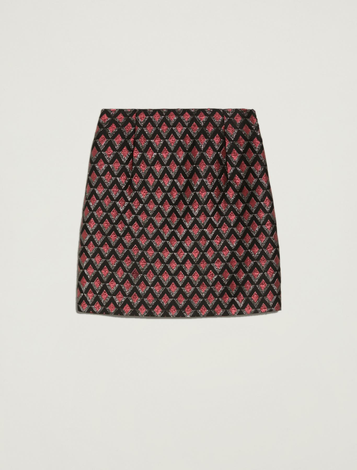 Lamé jacquard skirt - burgundy pattern - pennyblack