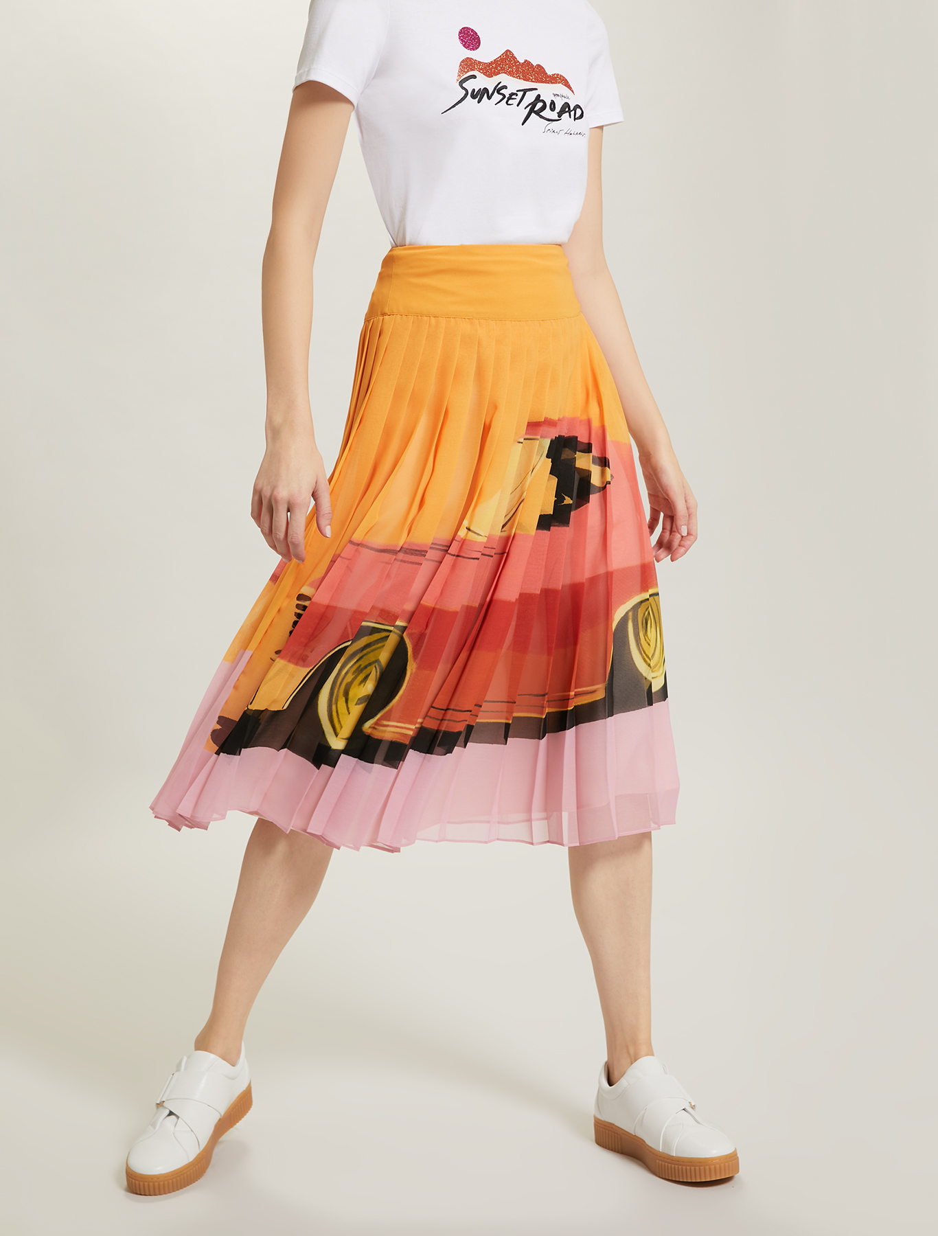 Sunset Road pleated skirt - orange pattern - pennyblack
