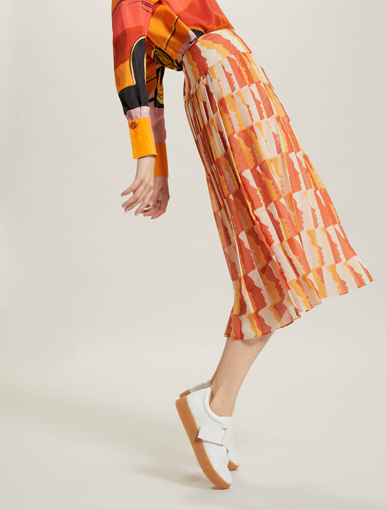 Sunset Road pleated skirt - terracotta pattern - pennyblack