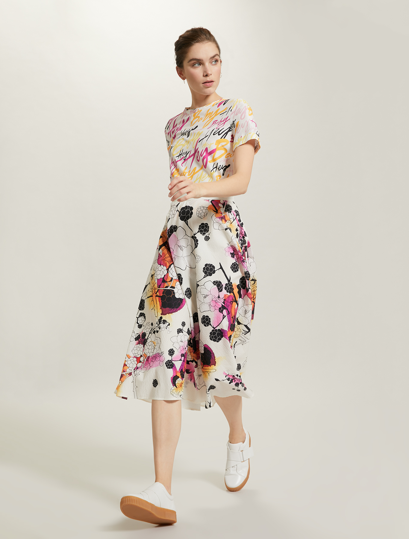 Sunset Road full skirt - white pattern - pennyblack