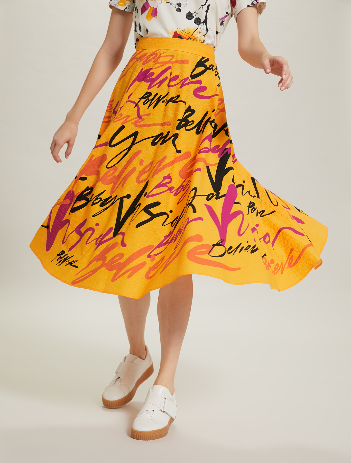 Sunset Road full skirt - orange pattern - pennyblack