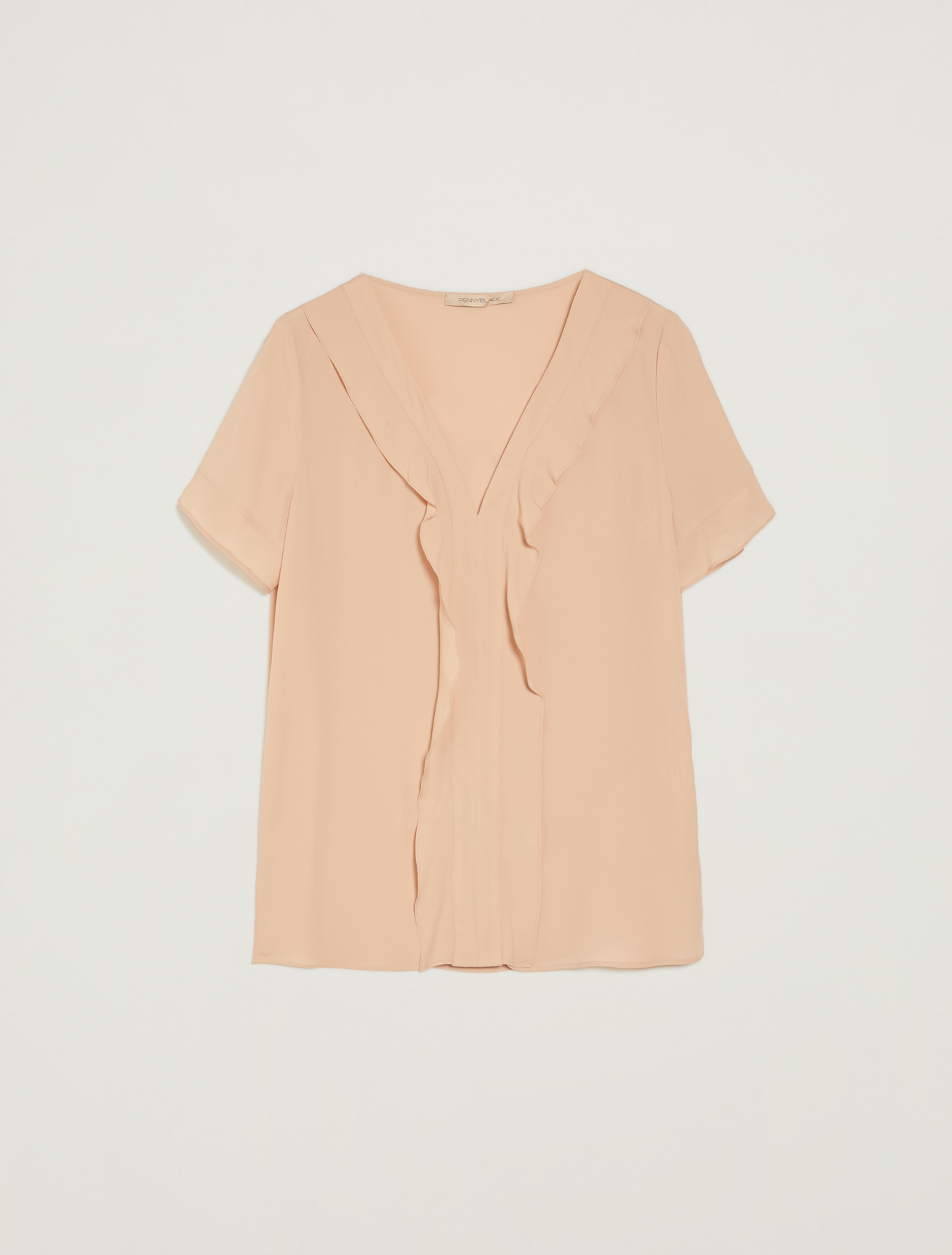 Ruffled crêpe blouse - old rose - pennyblack
