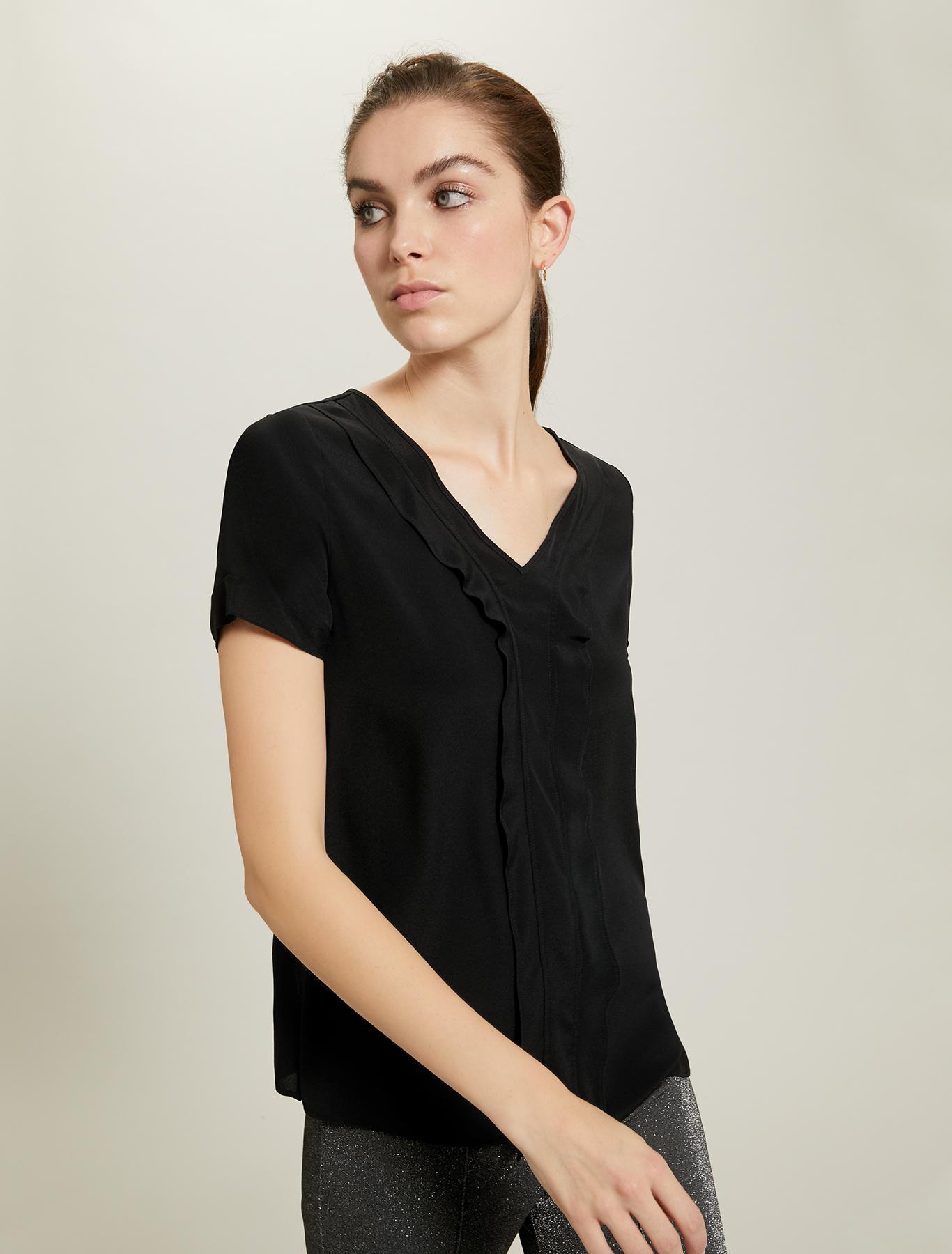 Blusa in crêpe con volant - nero - pennyblack