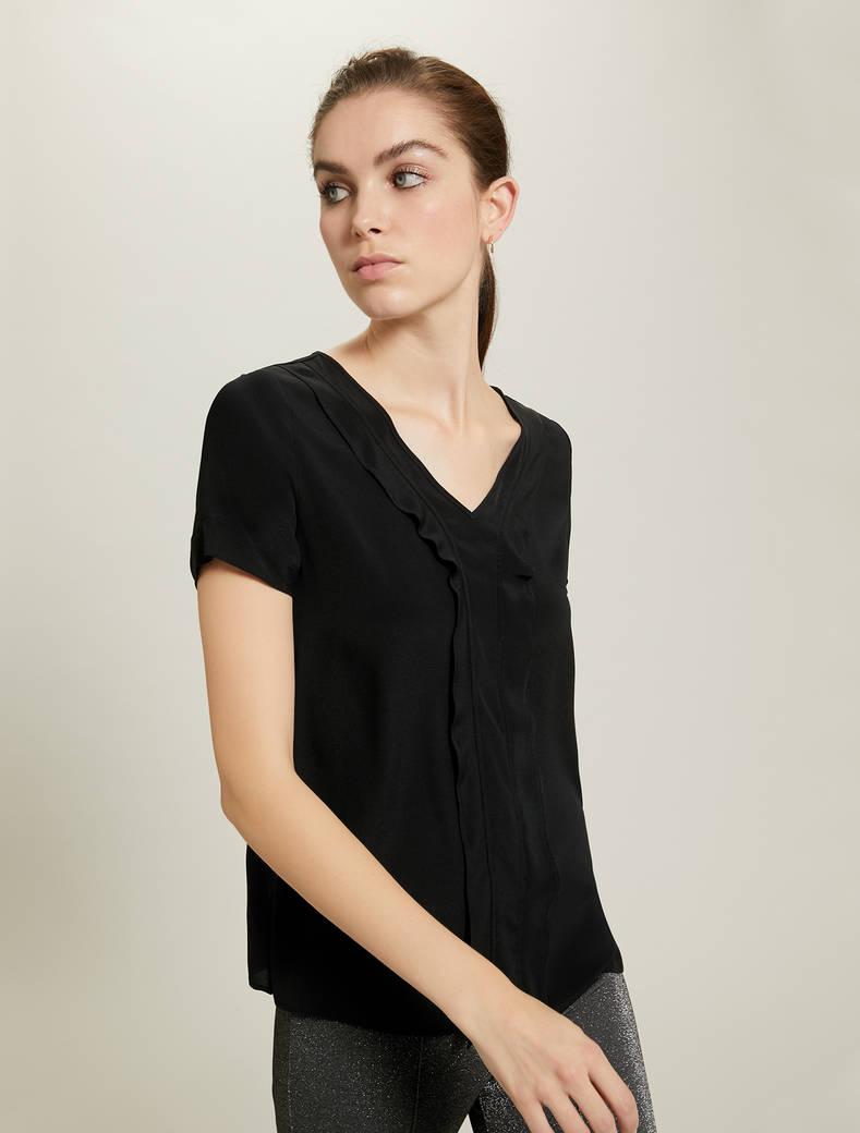 Ruffled crêpe blouse - black - pennyblack