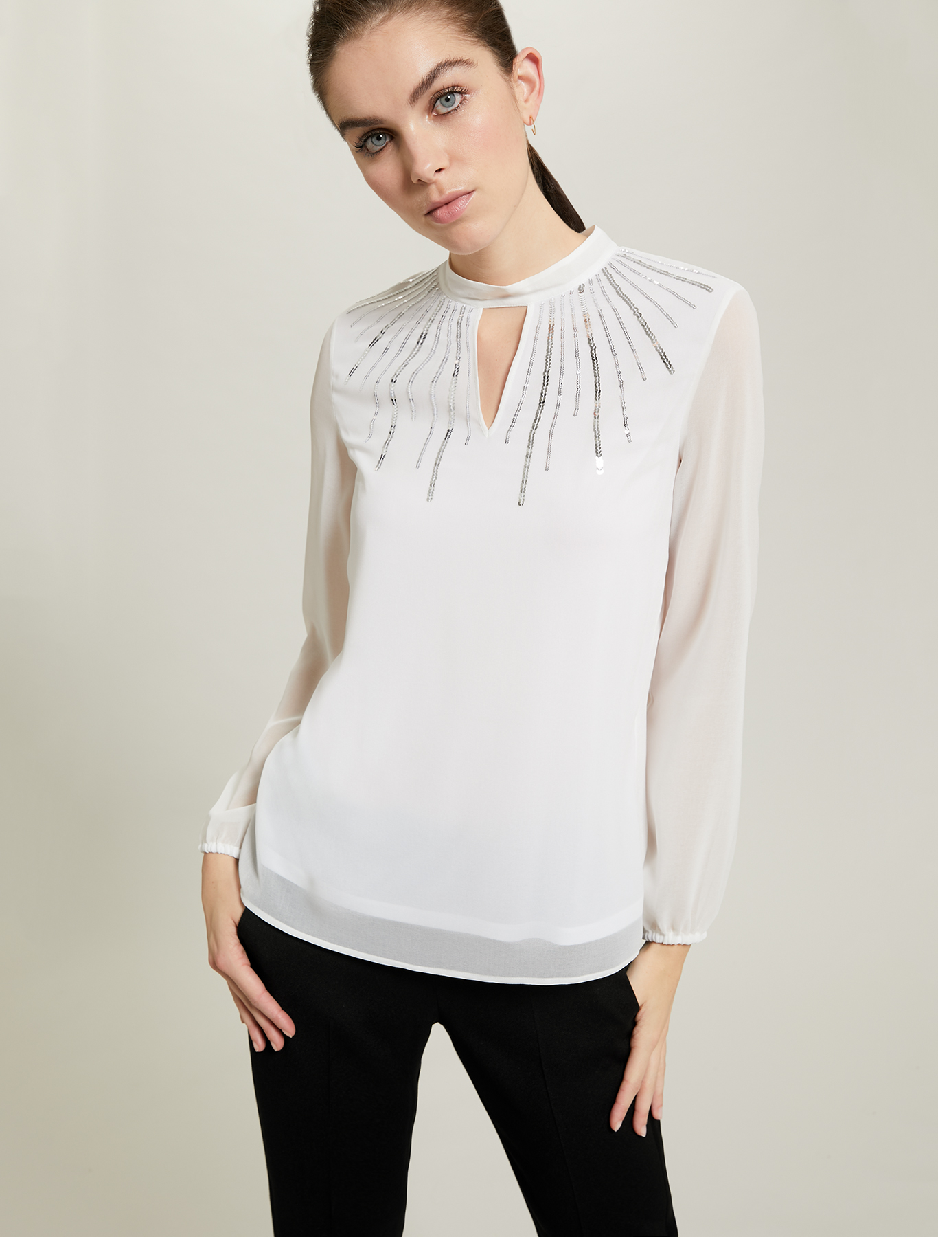 Sequinned georgette blouse - ivory - pennyblack
