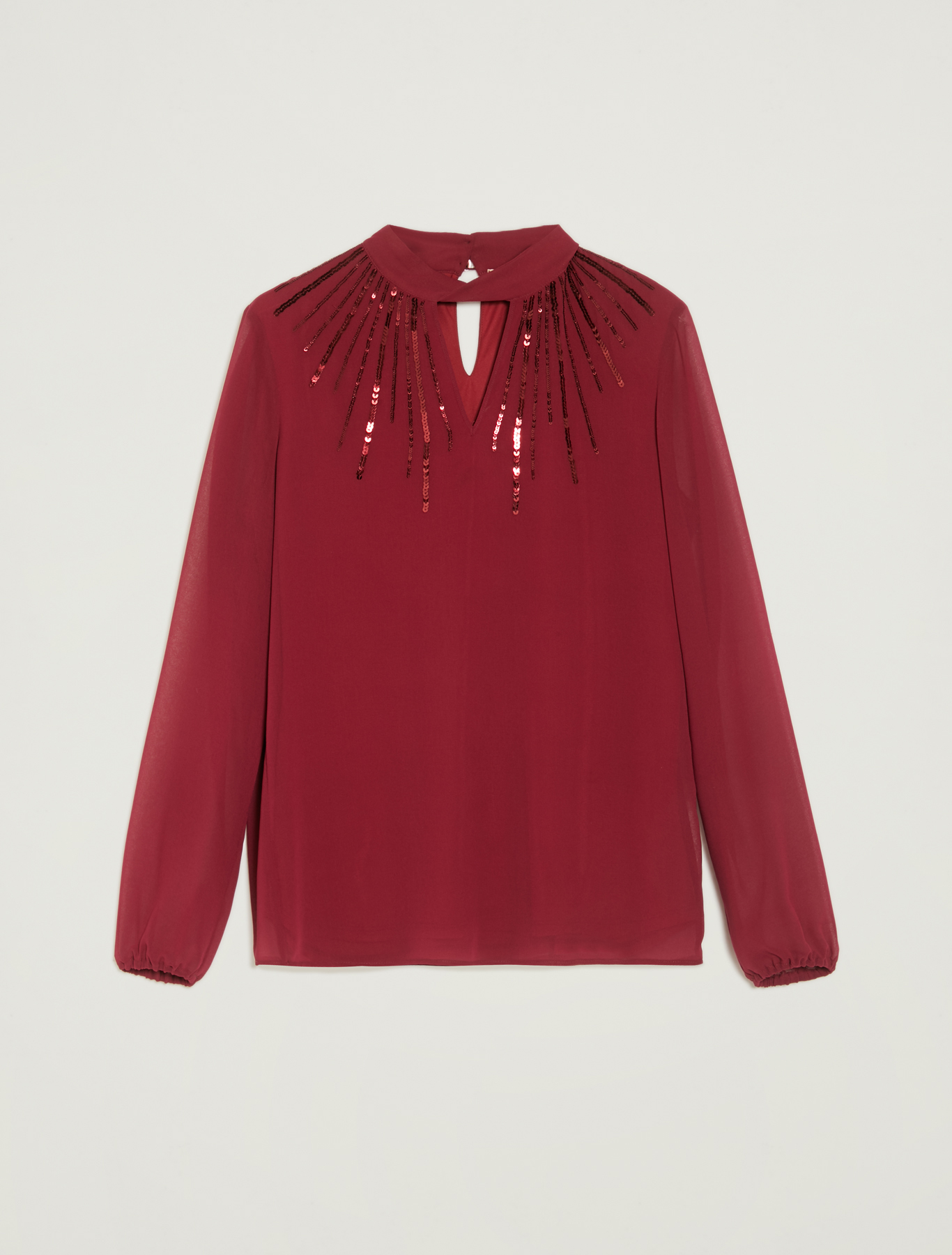 Sequinned georgette blouse - burgundy - pennyblack