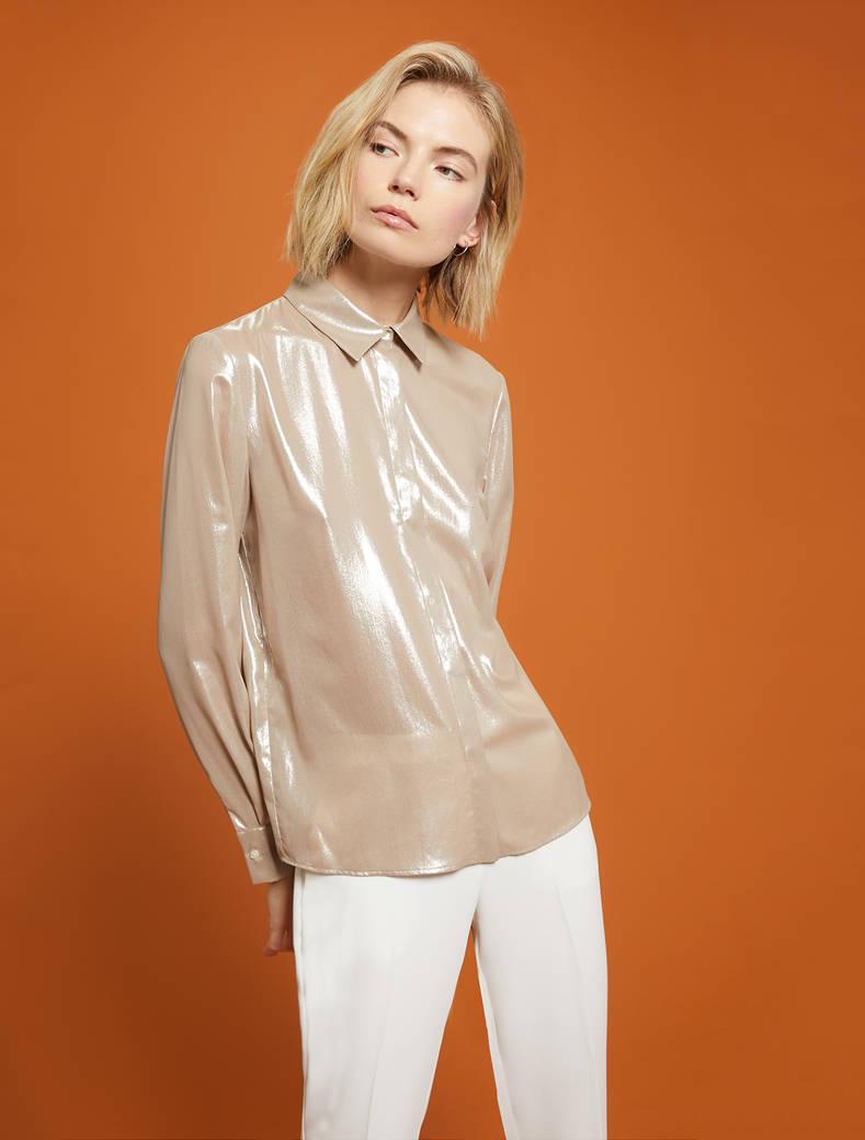Camicia in georgette laminata - beige - pennyblack