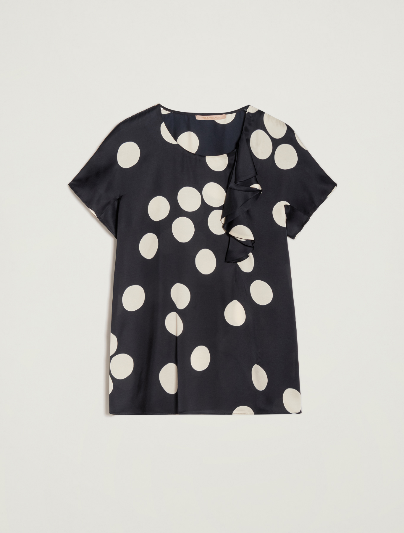 Maxi polka-dot blouse - midnight blue pattern - pennyblack