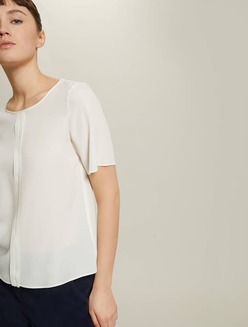 Blusa in crêpe de Chine - bianco avorio - pennyblack