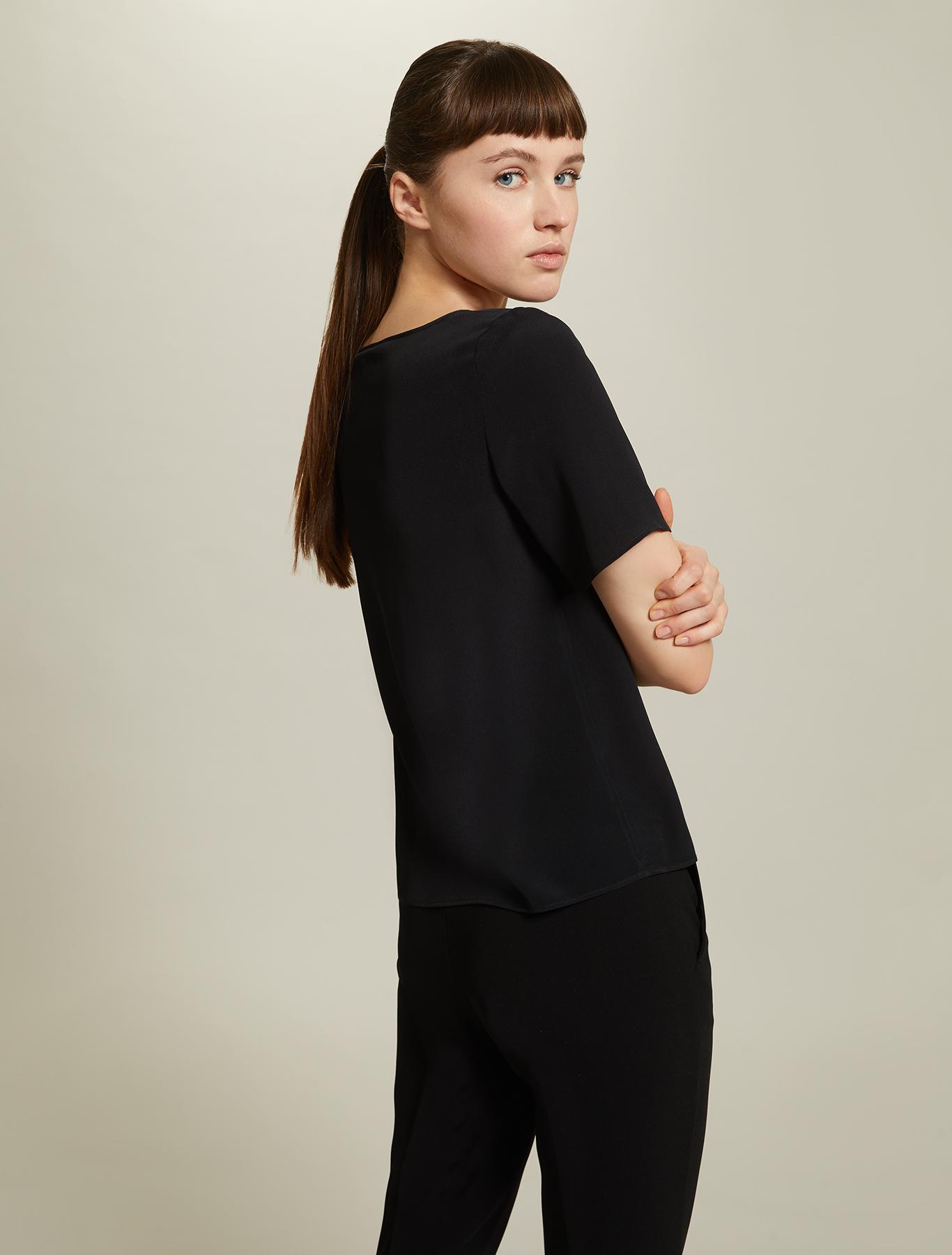 Crêpe de Chine blouse - black - pennyblack