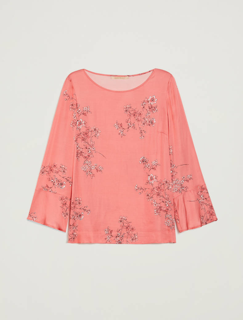 Blouse in floral satin - old rose pattern - pennyblack