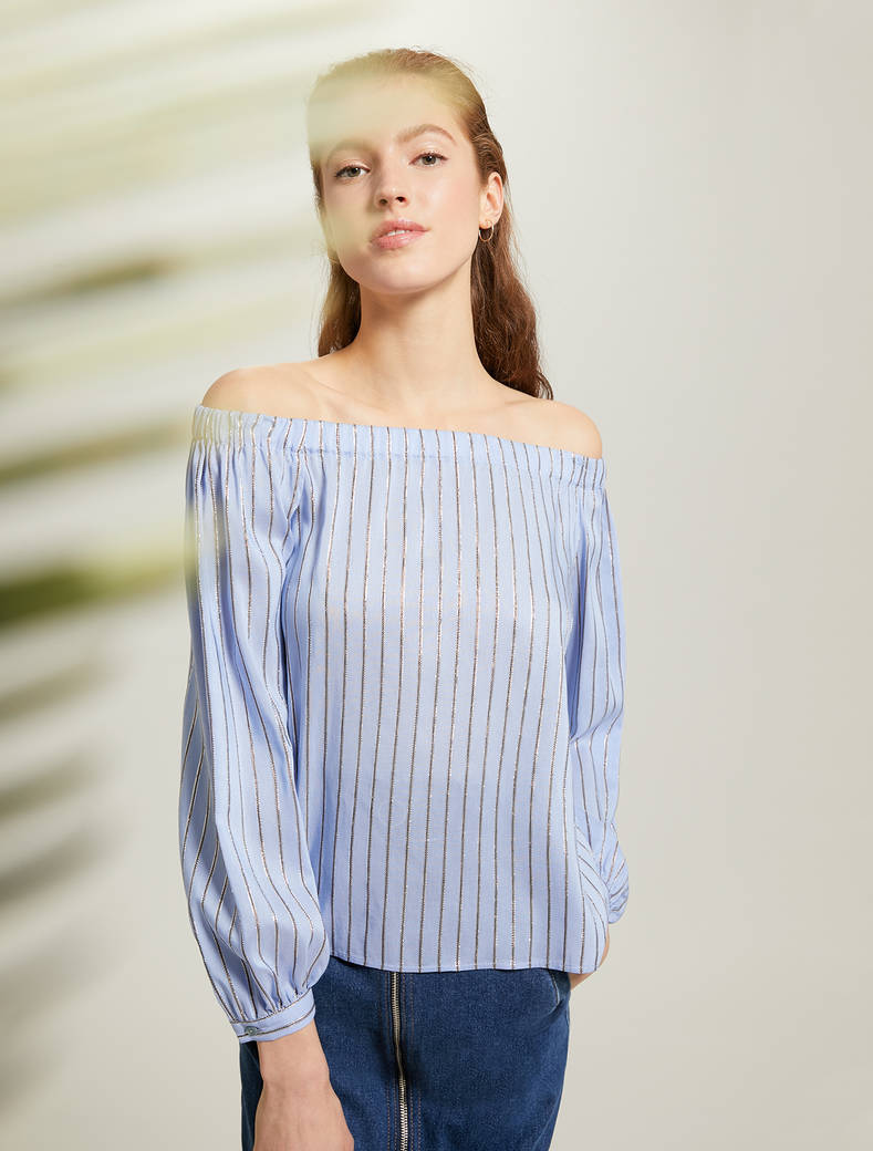 Lamé striped blouse - light blue pattern - pennyblack