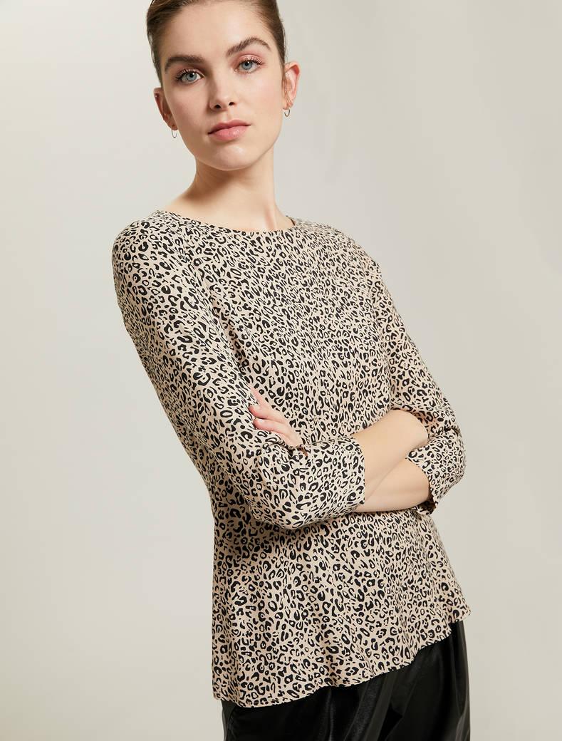 Leopard-print sablé blouse - sand pattern - pennyblack