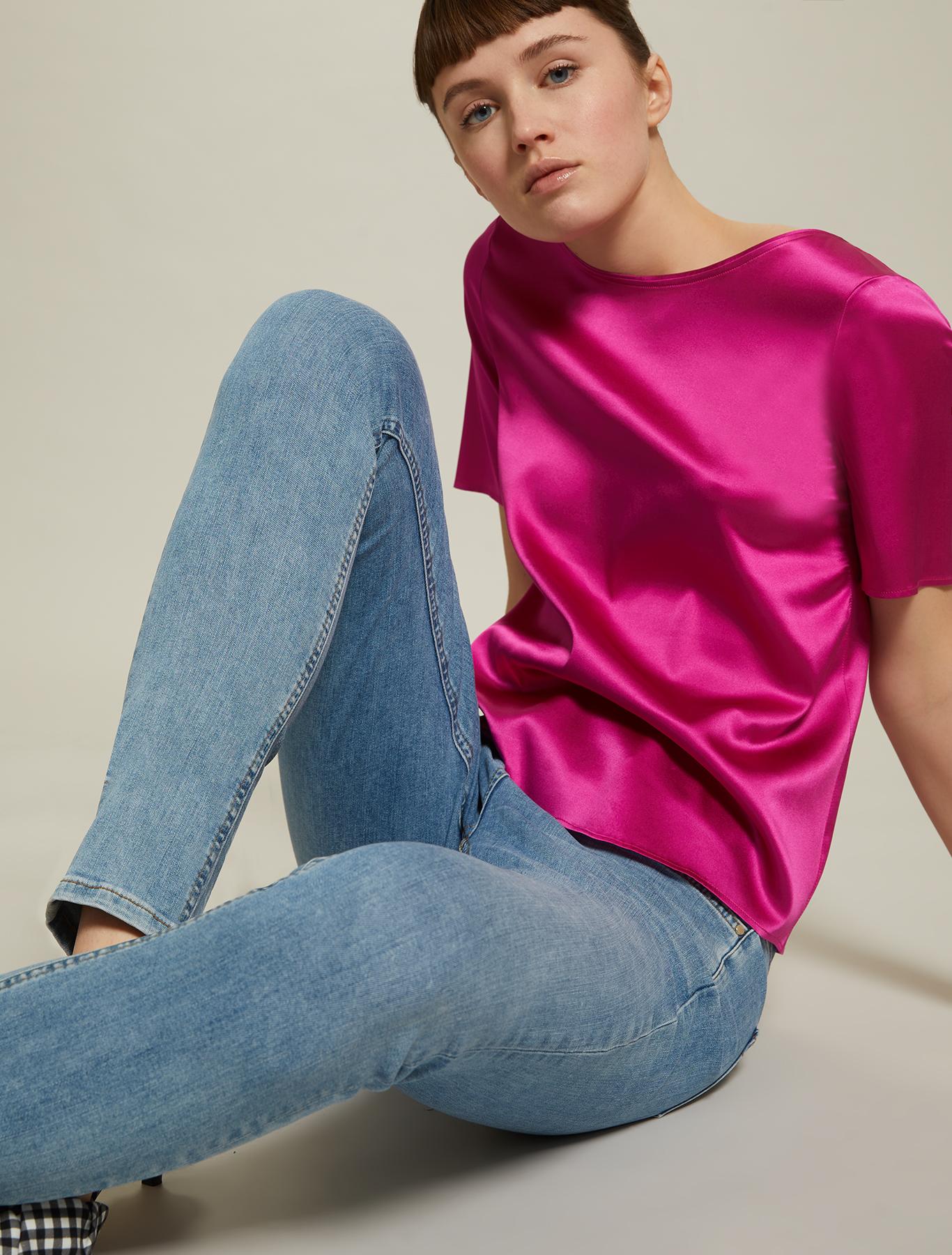Blusa in raso di seta - fuxia - pennyblack