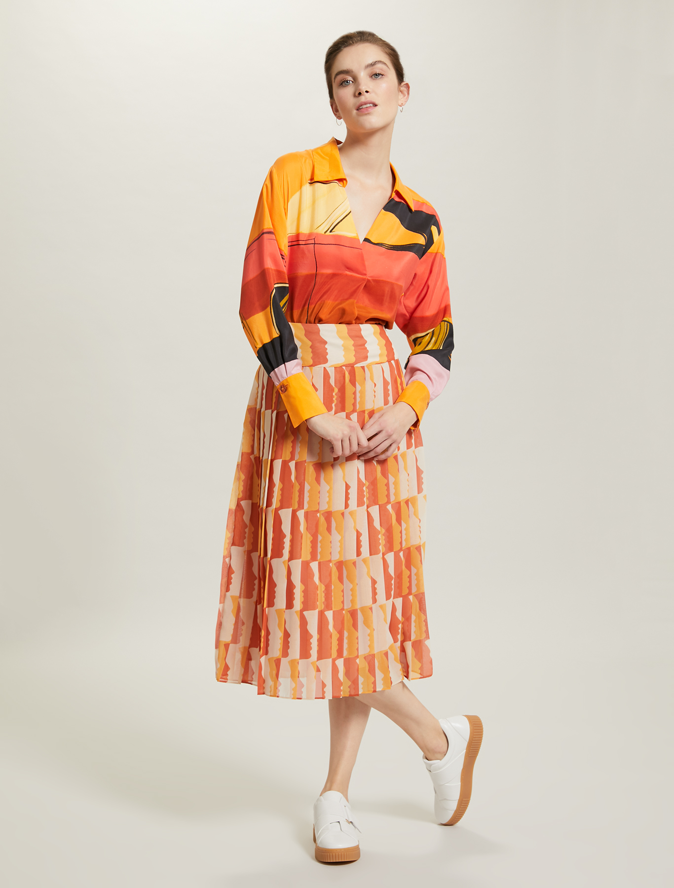 Sunset Road silk shirt - orange pattern - pennyblack