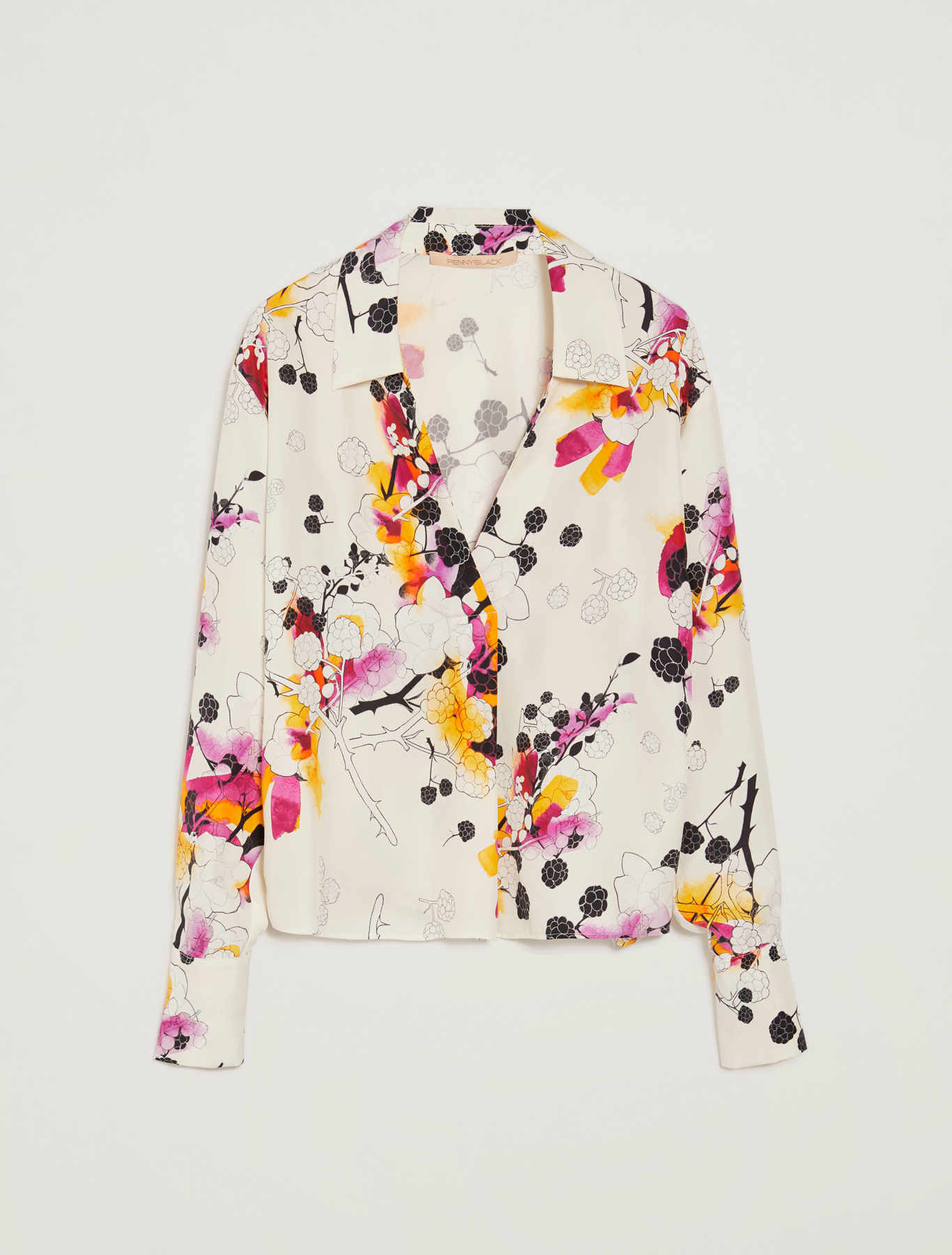 Sunset Road silk shirt - white pattern - pennyblack