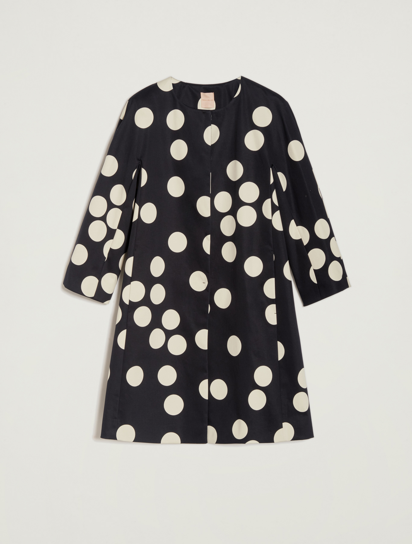 Maxi polka-dot cotton overcoat - midnight blue pattern - pennyblack