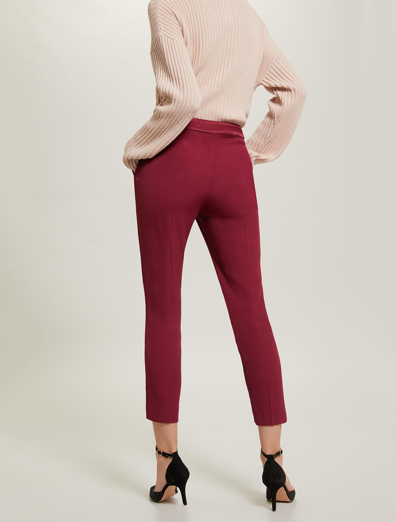 Crêpe tuxedo trousers - burgundy - pennyblack