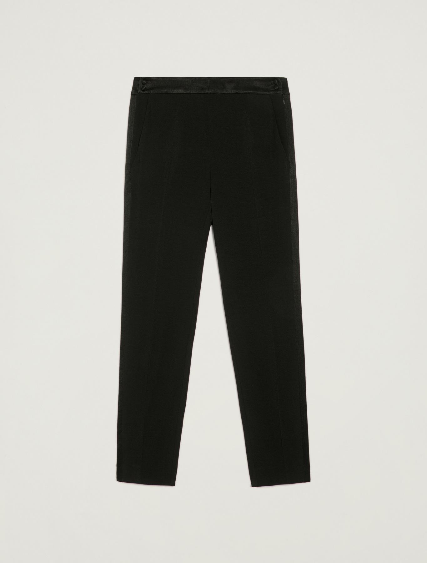 Crêpe tuxedo trousers - black - pennyblack