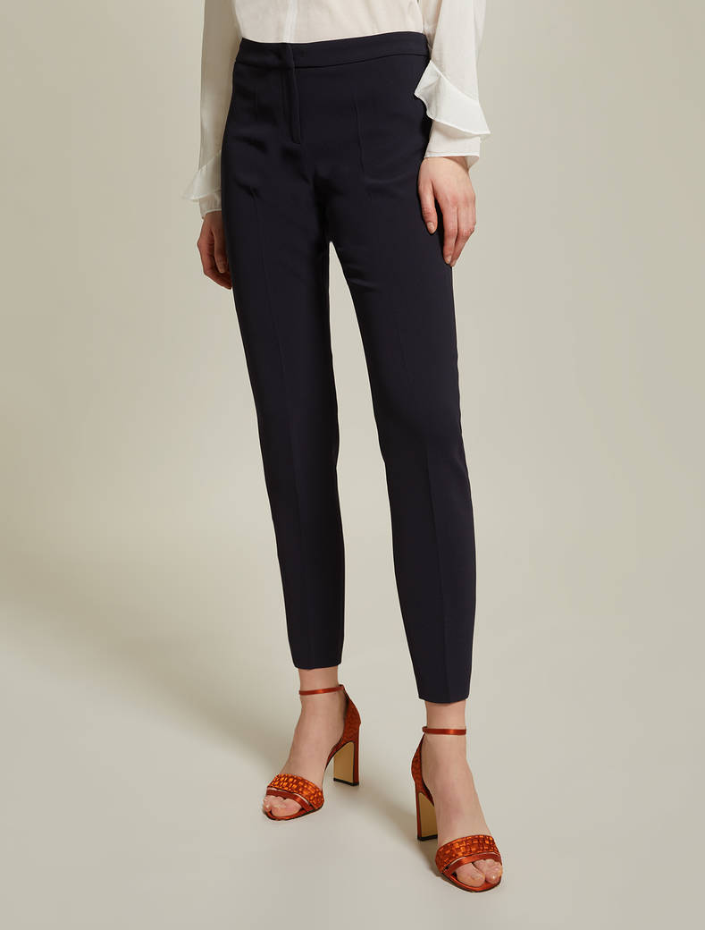 Flowing, slim-fit trousers - navy blue - pennyblack