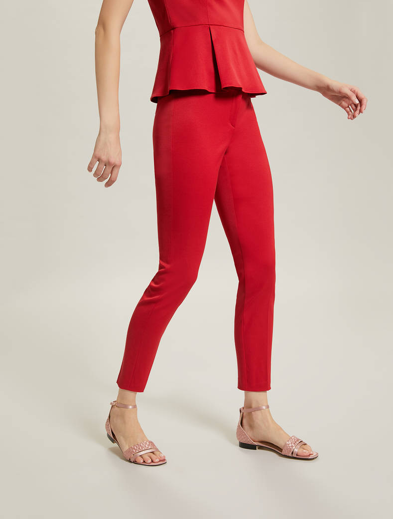 Slim faille trousers - red - pennyblack