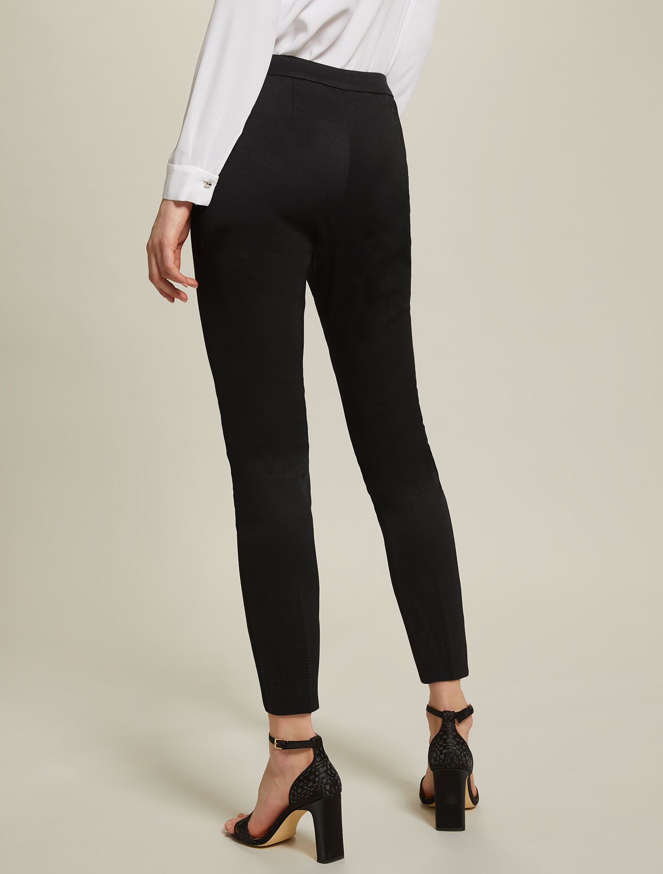 Slim faille trousers - black - pennyblack