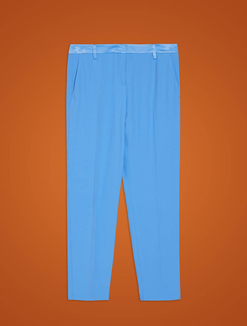 Slim trousers in envers satin - light blue - pennyblack