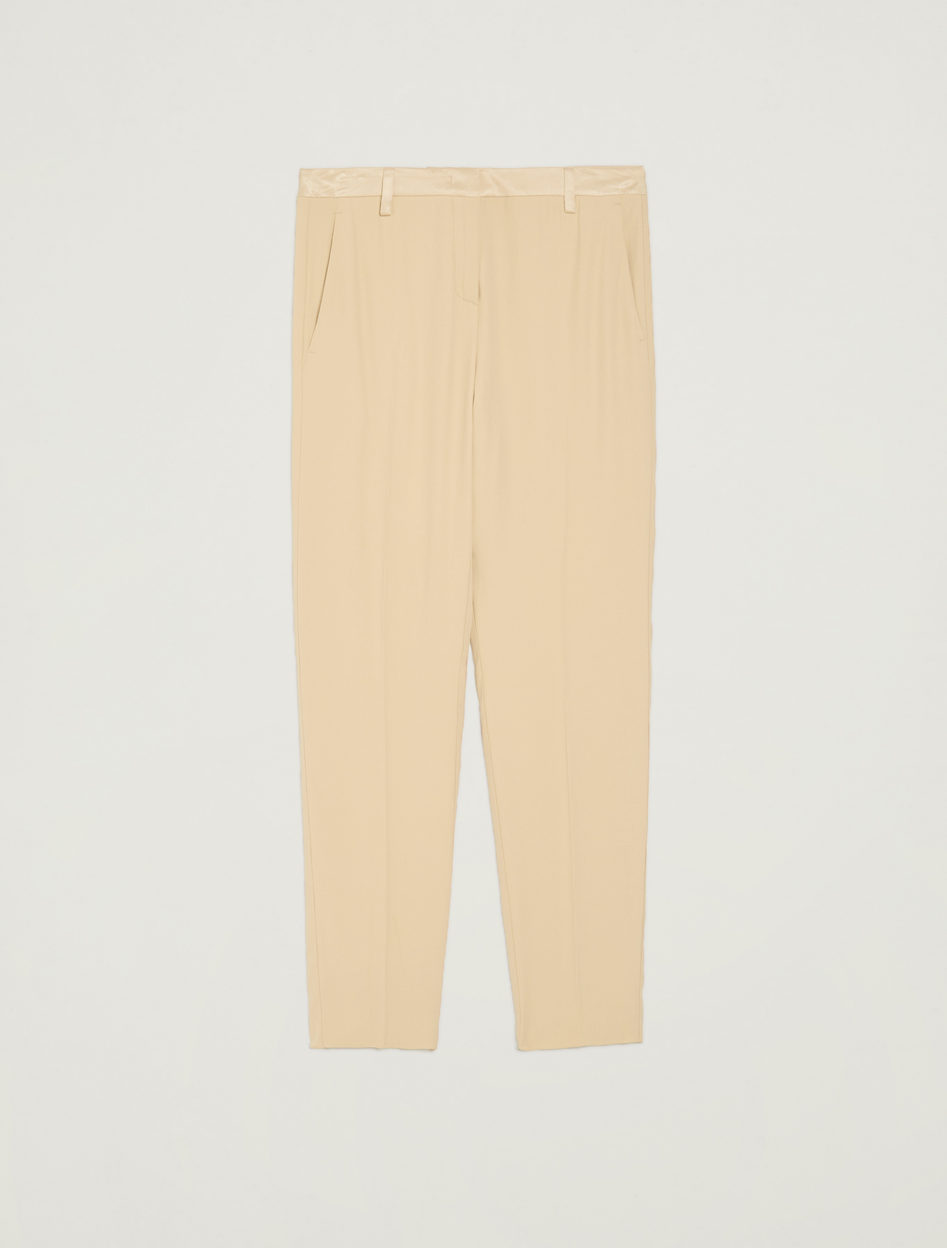 Slim trousers in envers satin - beige - pennyblack