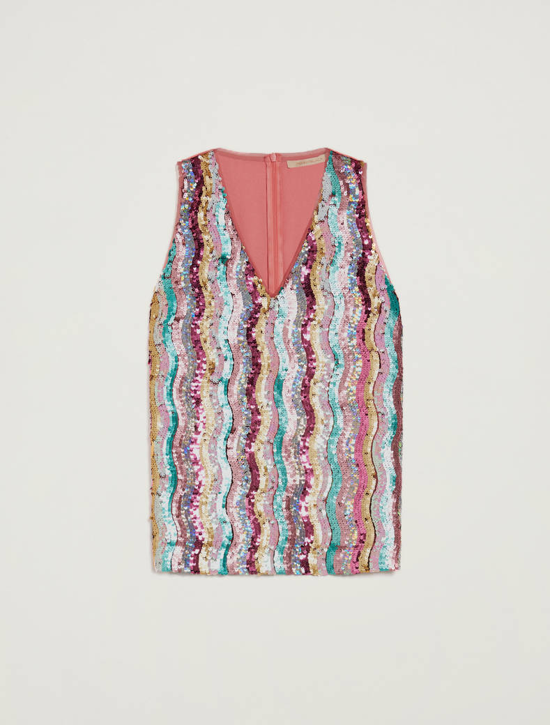 Top with multicolour sequins - rose pink pattern - pennyblack