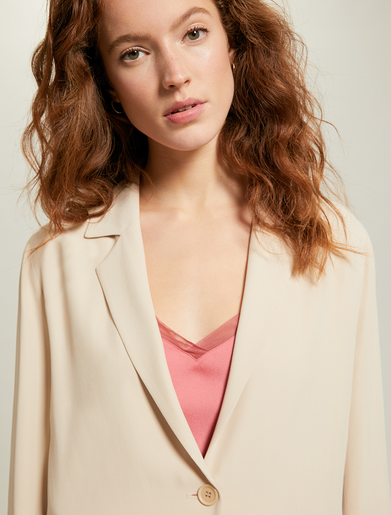 Envers satin shirt jacket - beige - pennyblack