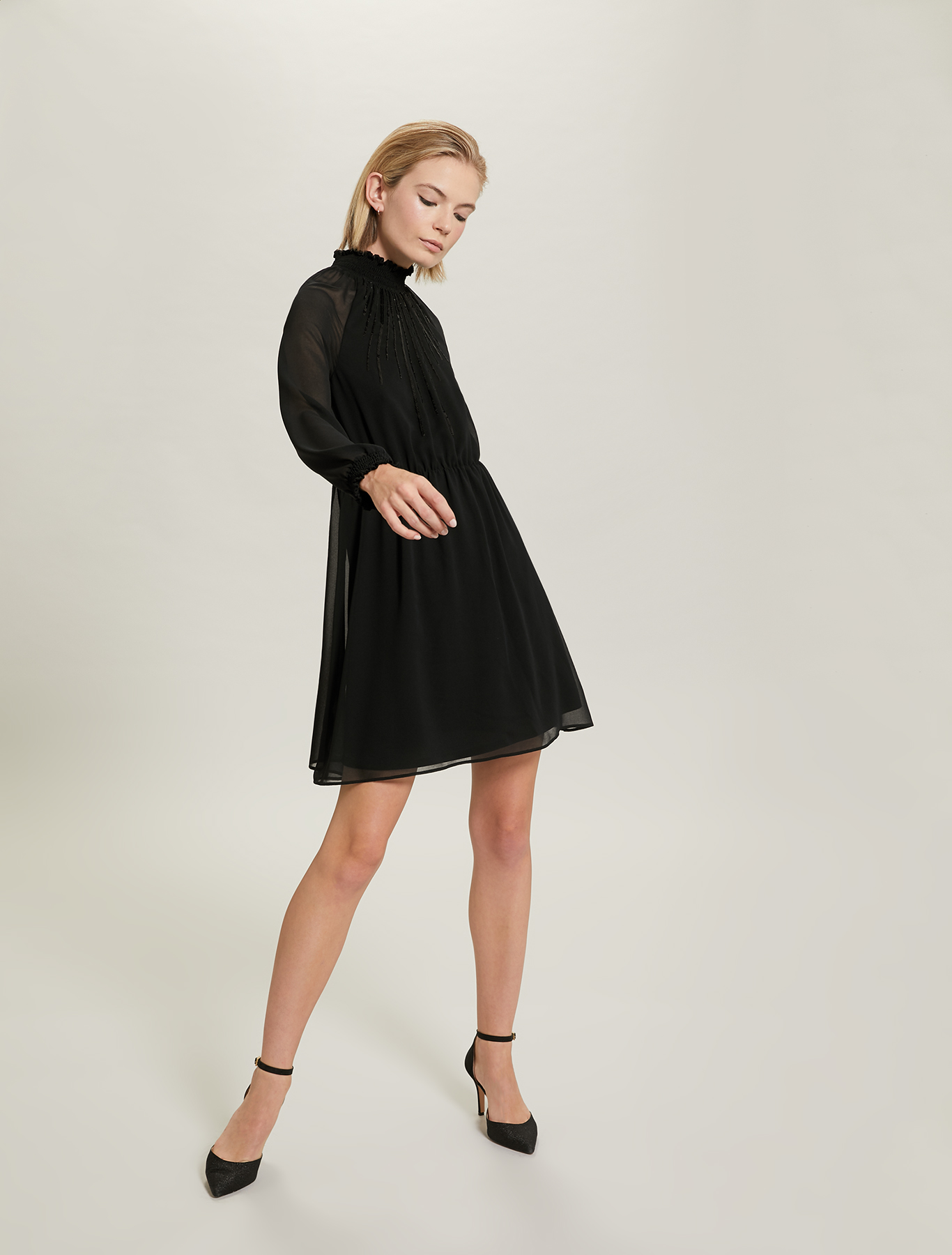 Sequinned georgette dress - black - pennyblack