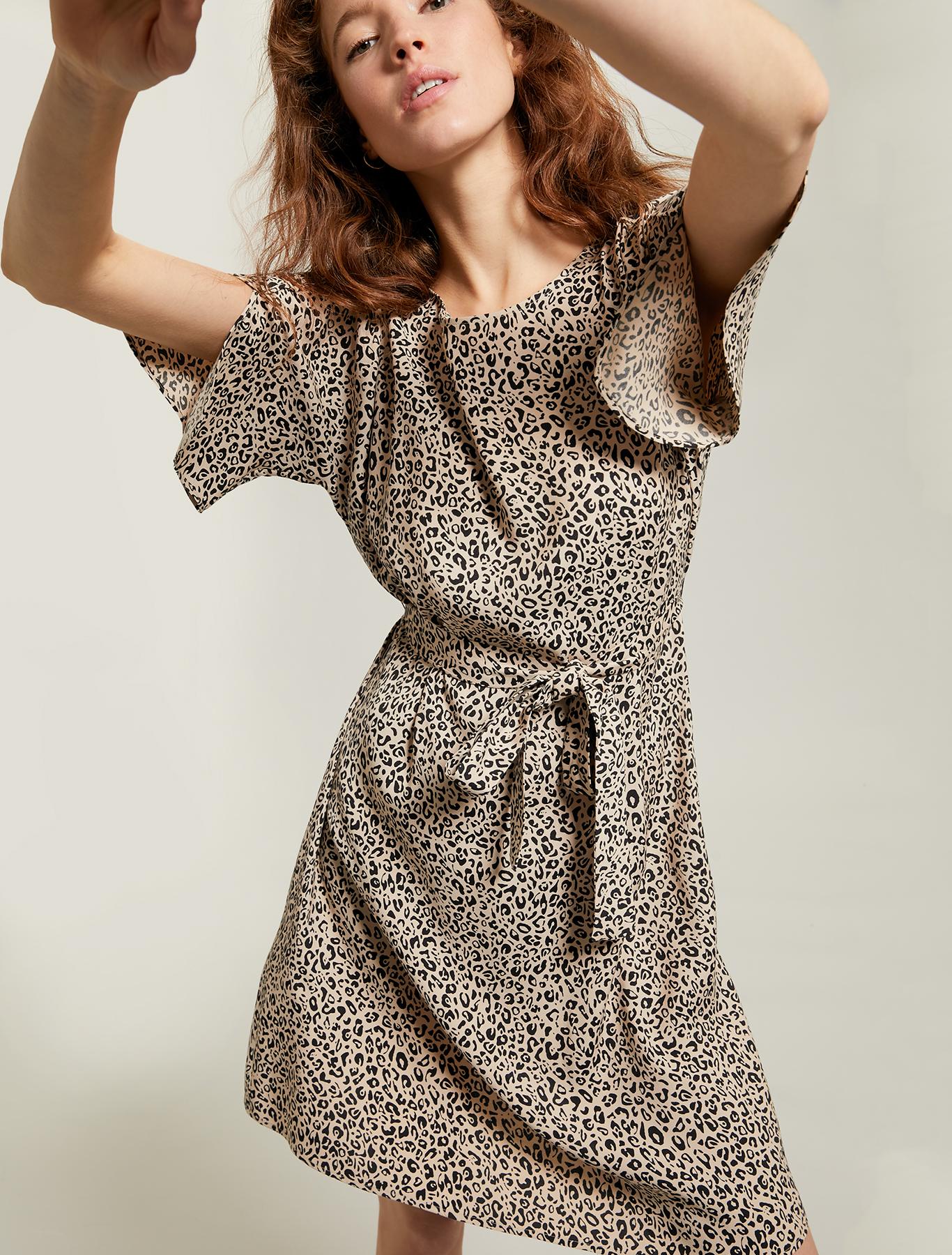 Leopard-print sablé dress - sand pattern - pennyblack