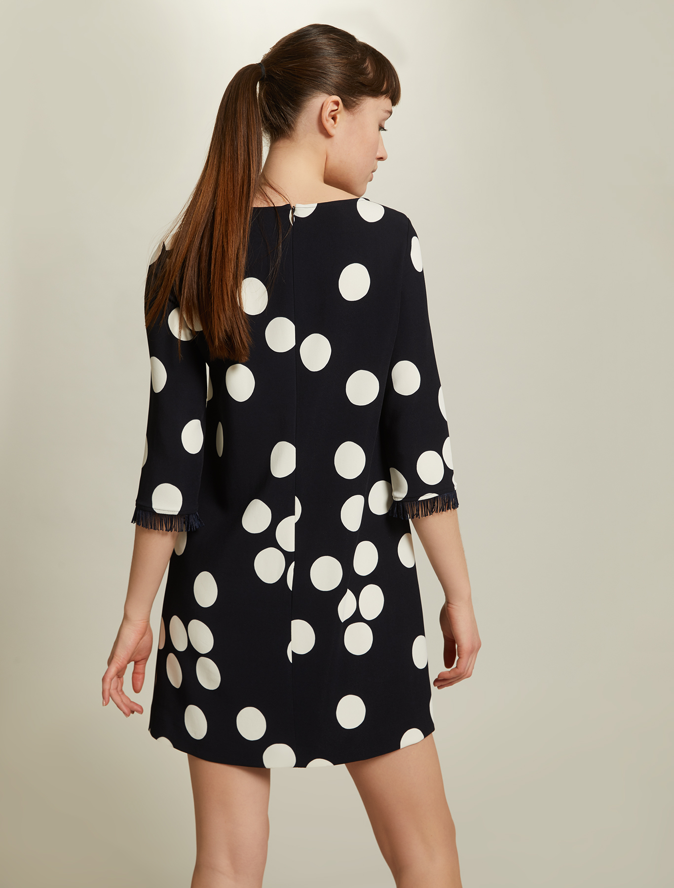 Maxi-polka dot cady dress - midnight blue pattern - pennyblack