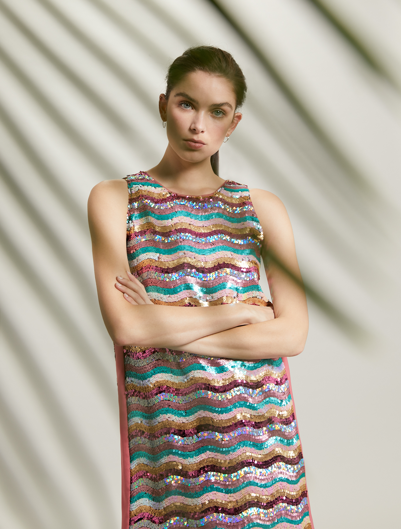 Dress with multicolour sequins - rose pink pattern - pennyblack