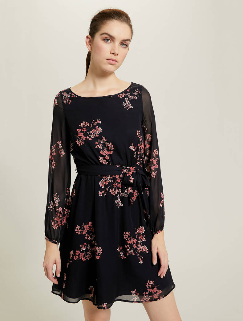 Dress in floral georgette - navy blue pattern - pennyblack