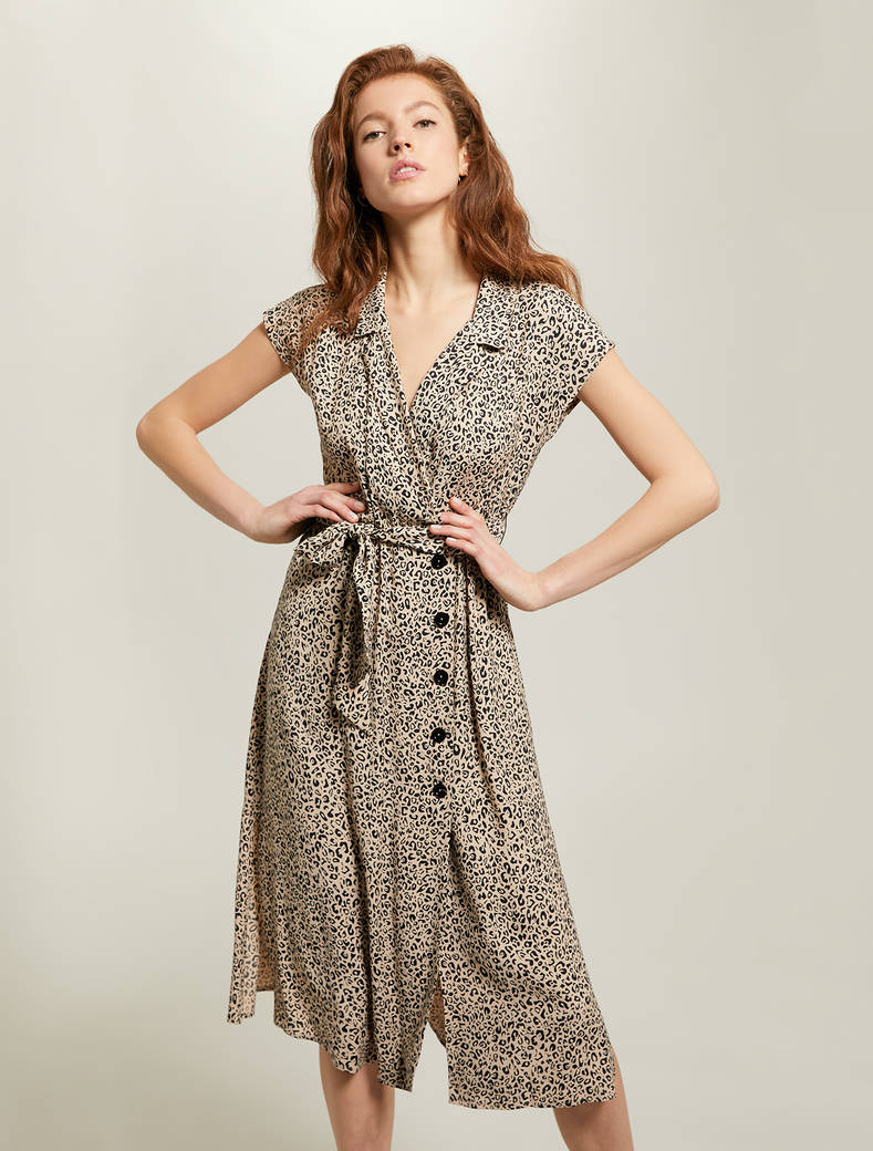 Leopard-print sablé shirt dress - sand pattern - pennyblack