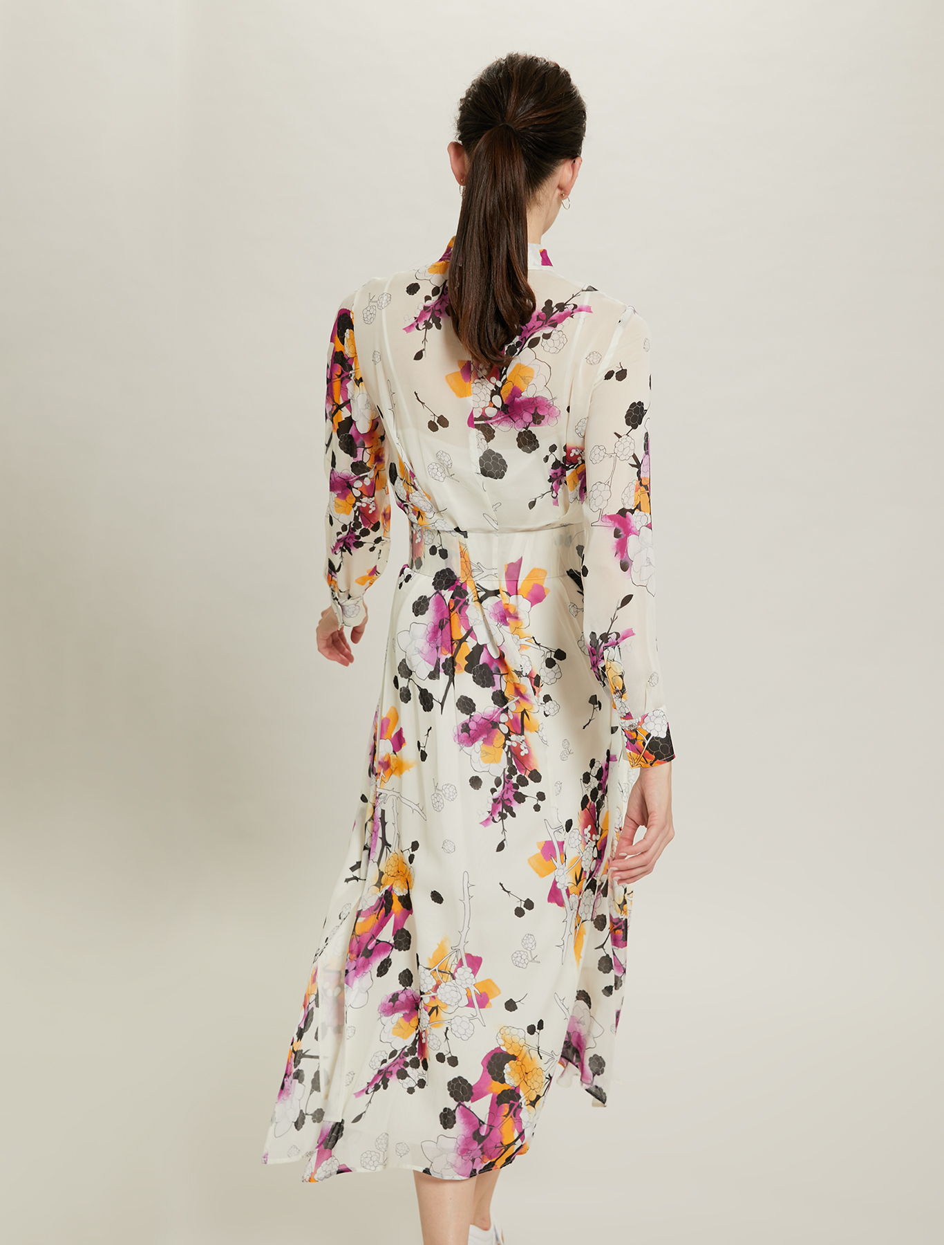 Sunset Road shirt dress in chiffon - white pattern - pennyblack