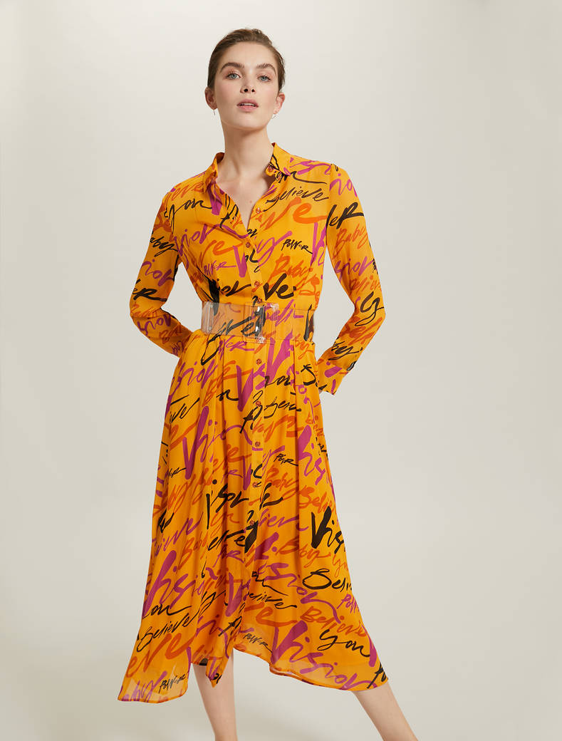 Sunset Road shirt dress in chiffon - orange pattern - pennyblack