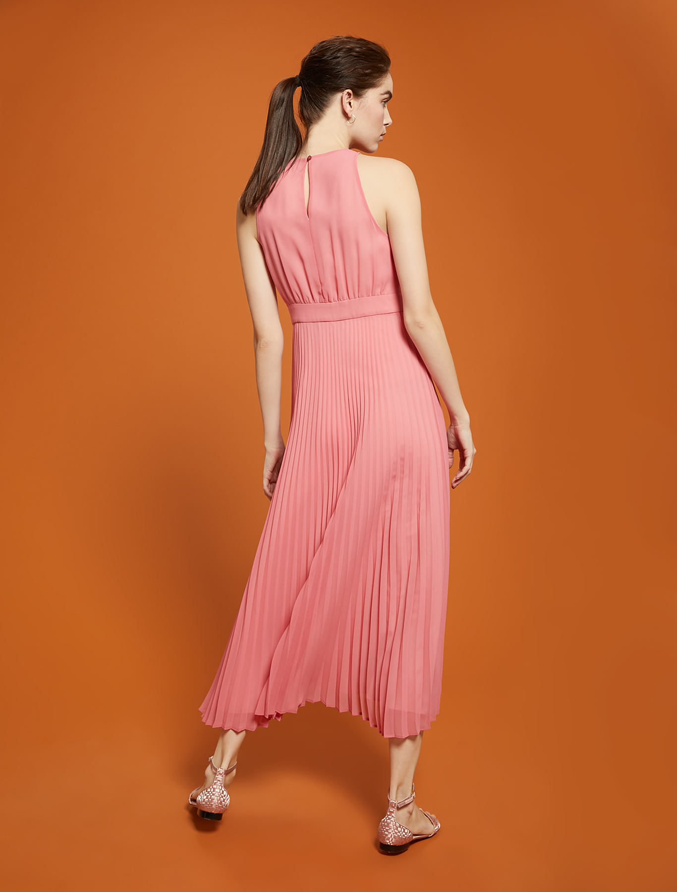 Pleated georgette dress - old rose - pennyblack