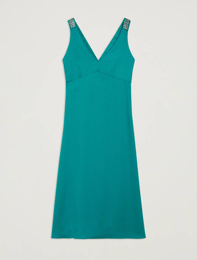 Dress with bijou straps - emerald green - pennyblack