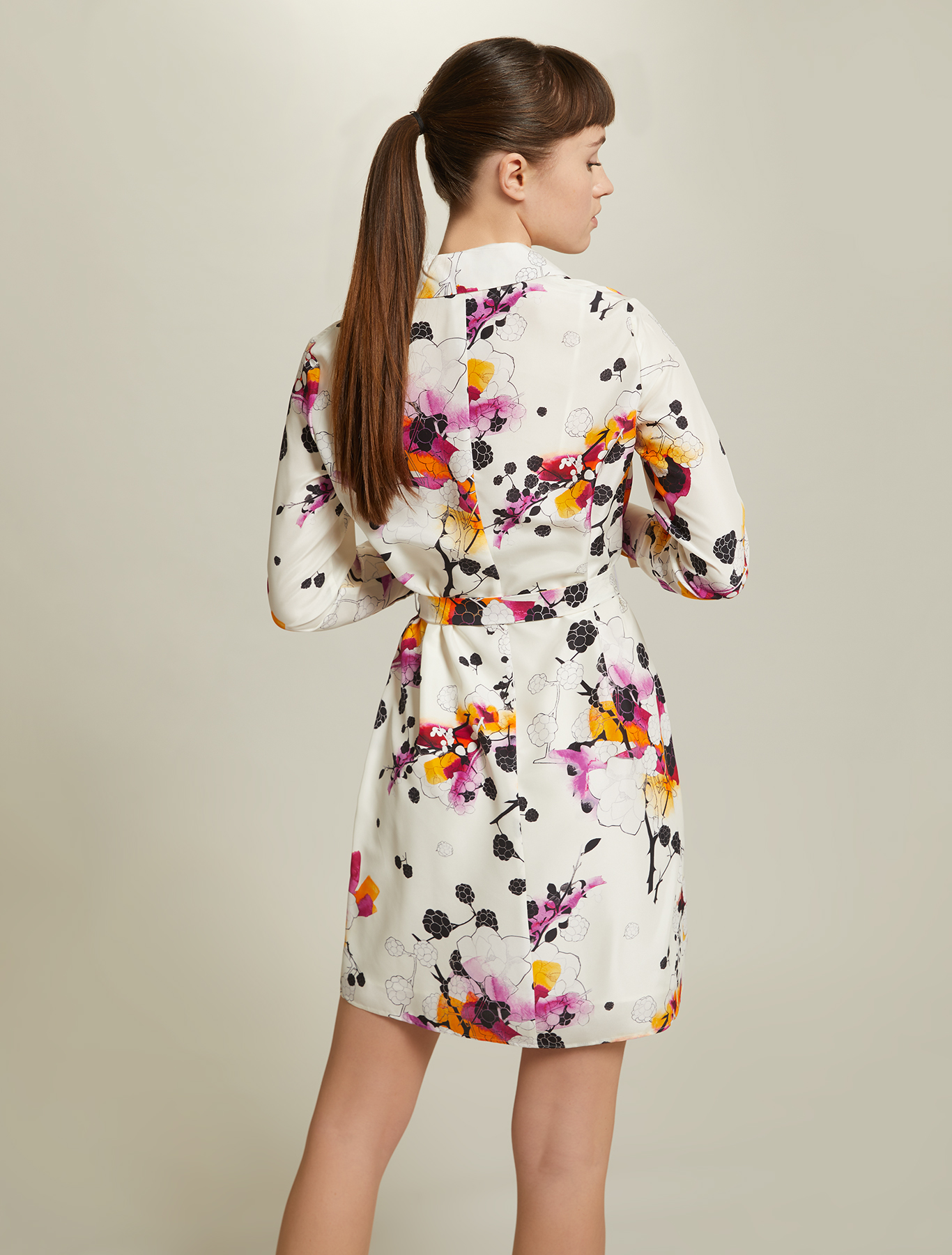 Sunset Road silk dress - white pattern - pennyblack